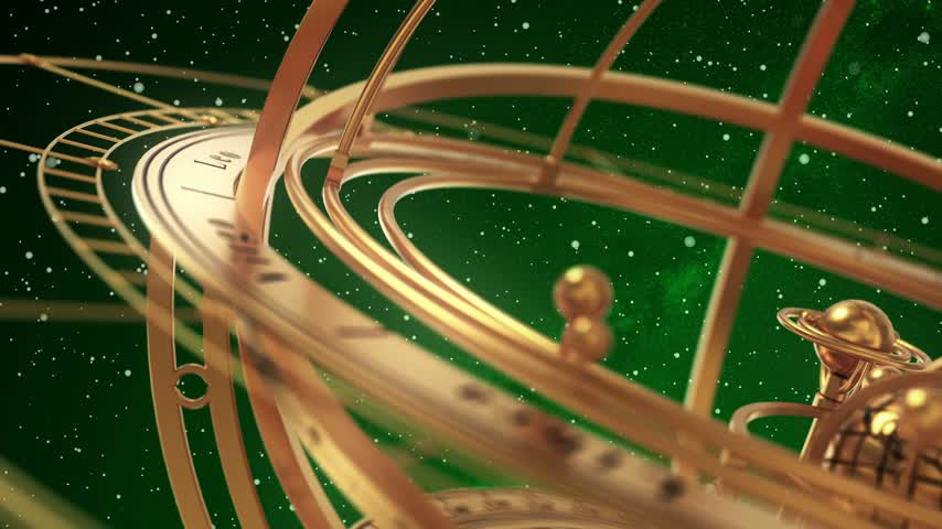 Armillary Sphere On Green Background Of Starburst