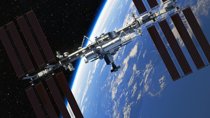 roket : Flight Of International Space Station On The Background Of Earth