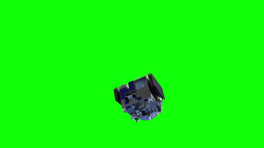 Satellite Deploys Solar Panels. Green Screen