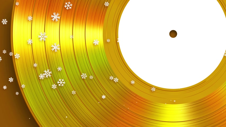 Falling Snowflakes On The Background Of Gold Vinyl Stockvideo