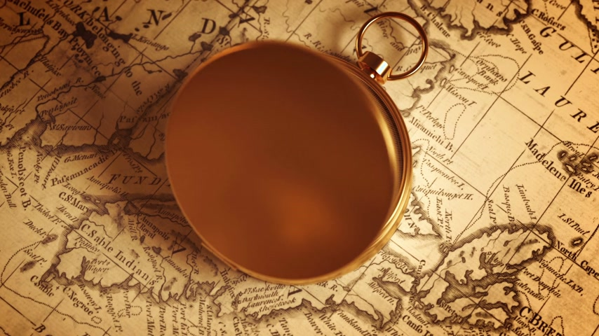 canto : Golden Compass On The Old Map Indicating Direction
