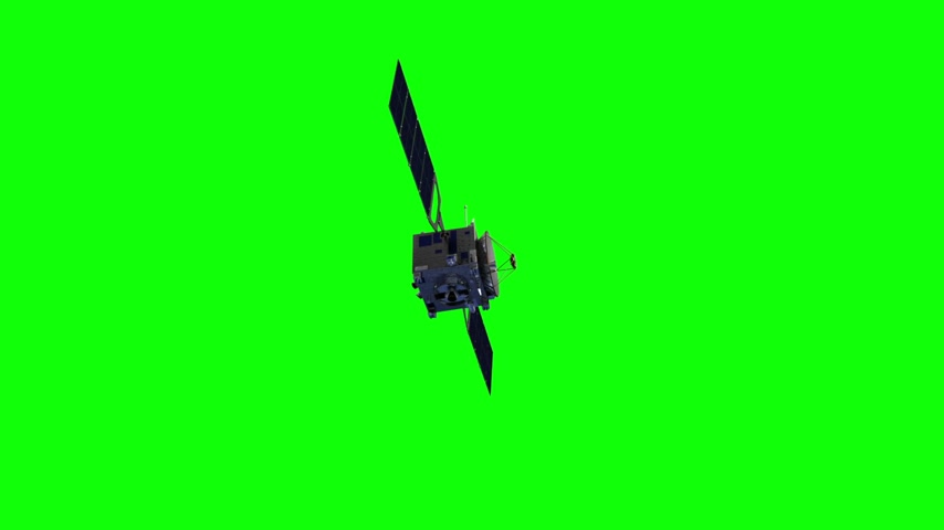 Communication Satellite On Green Screen Stock mozgókép