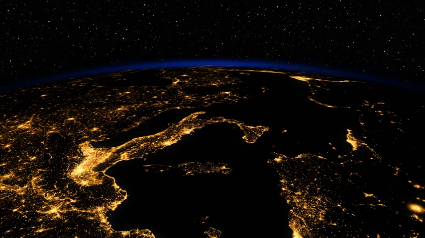 4K. Sunrise In Space. Amazing Night View On European Zone Of Planet Earth.