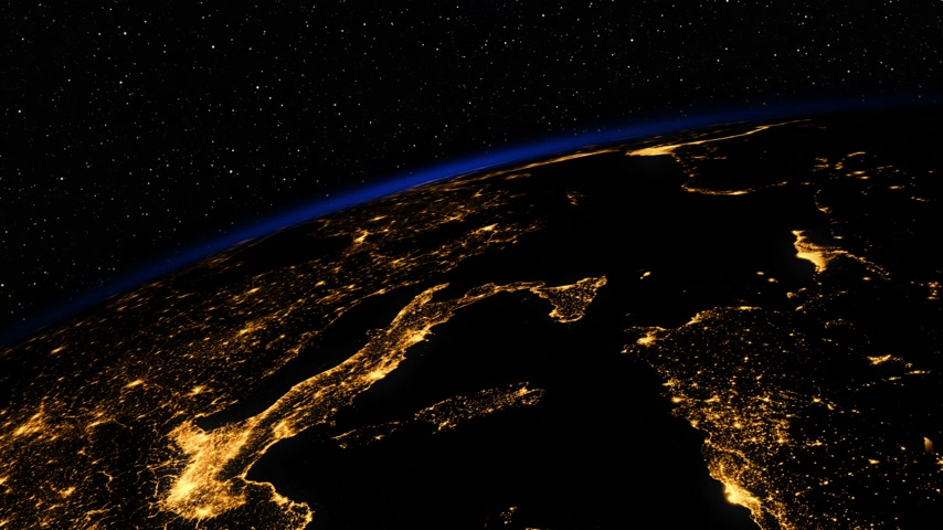 orbital : Sunrise In Space. Amazing Night View On European Zone Of Planet Earth.