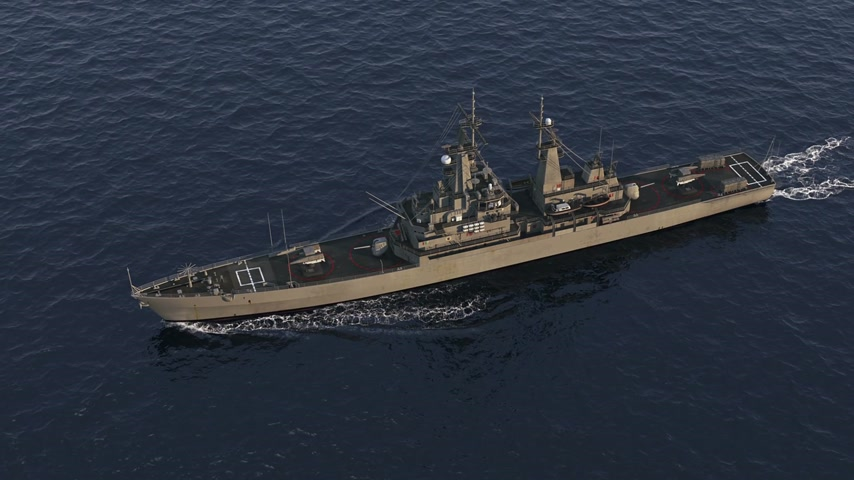 American Modern Warship In The High Seas