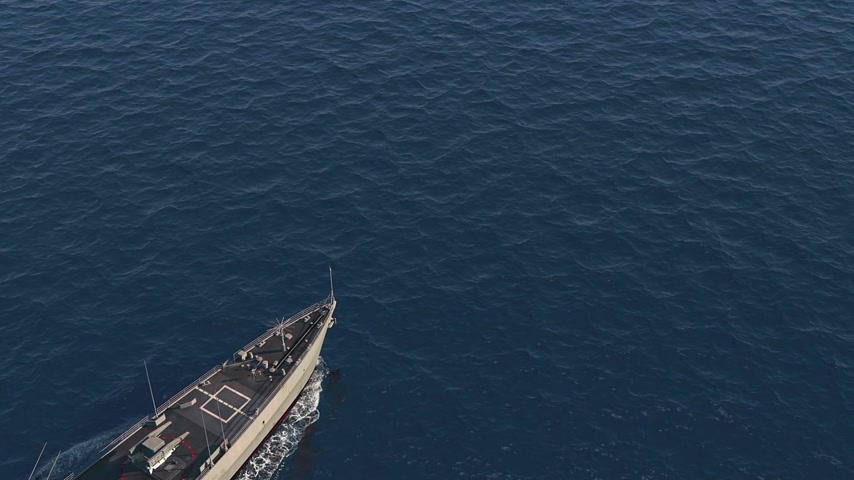 American Modern Warship In The High Seas. Top View.