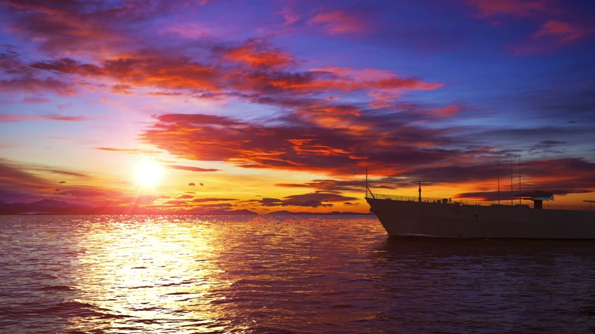 American Modern Warship On The Background Of Sunset Stockvideo