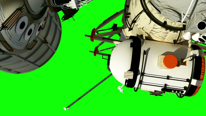 Flight Of The International Space Station. Green Screen.