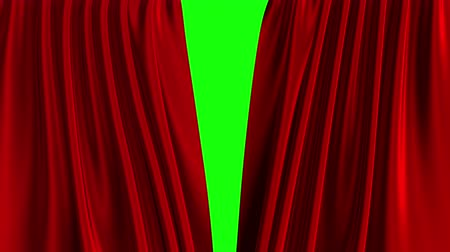 Red Curtain Opening. Green Screen. Stock mozgókép