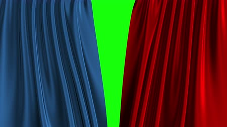 Blue And Red Curtain Opening. Green Screen.