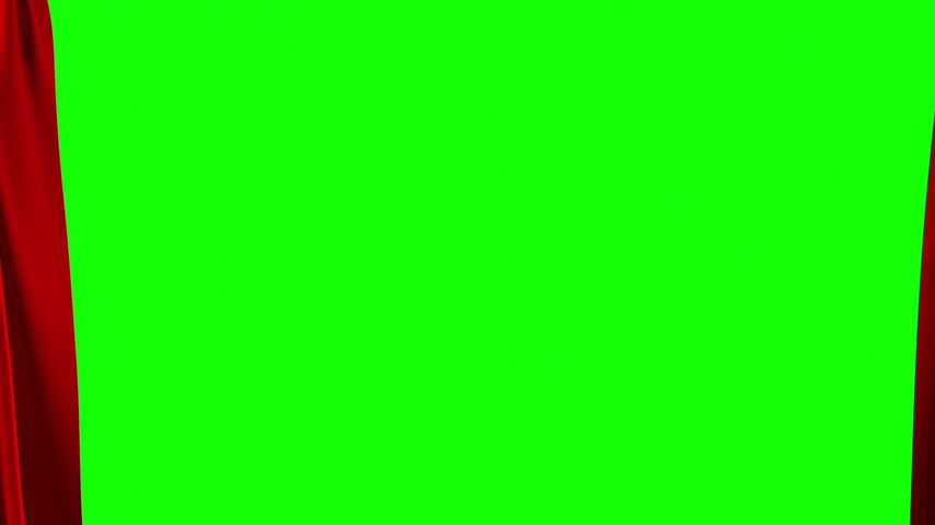 Red Curtains Opening. Green Screen.