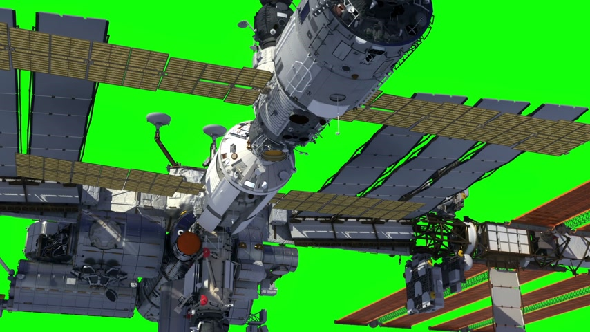 International Space Station Orbiting Earth. Green Screen.