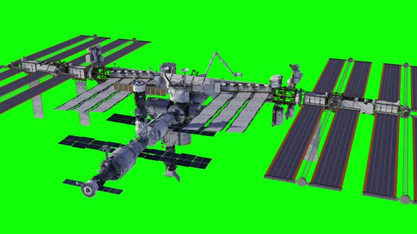Flying Around International Space Station. Green Screen.
