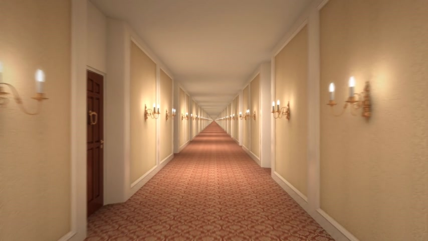 прихожая : Moving through a hotel corridor, 6 second loop. Стоковые видеозаписи