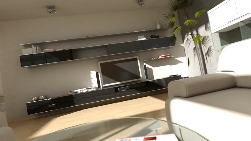 moderní : Zooming into a LCD TV in a modern living room.