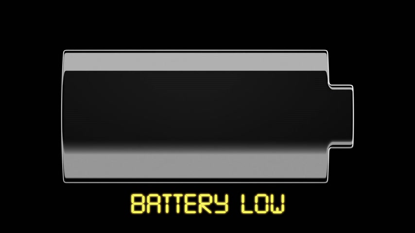 низкий : Battery Charging and Discharging with scale divisions. Isolated on black. HD 1080. Стоковые видеозаписи