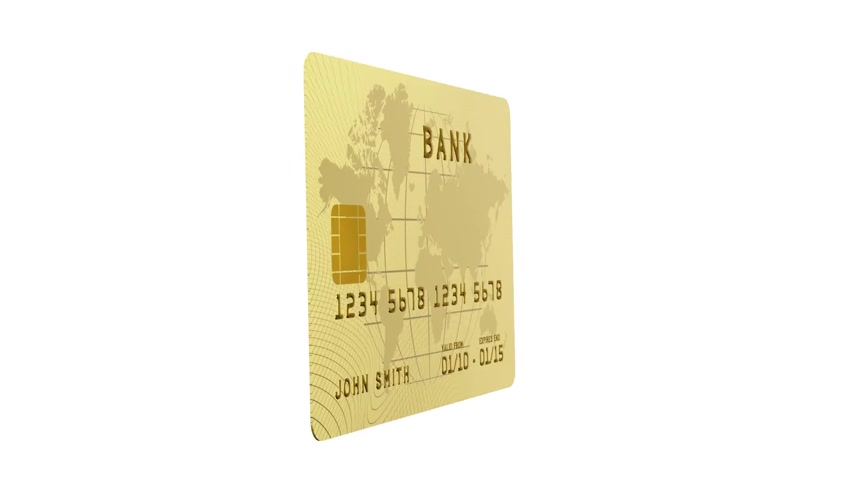 karta kredytowa : Credit Card Terminal with Card flying in HD, alpha mask included.