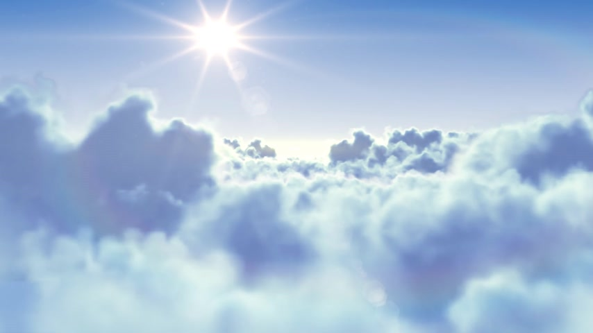 melek : Flying over the clouds with the afternoon sun. Seamless 3d animation. HD 1080. Stok Video