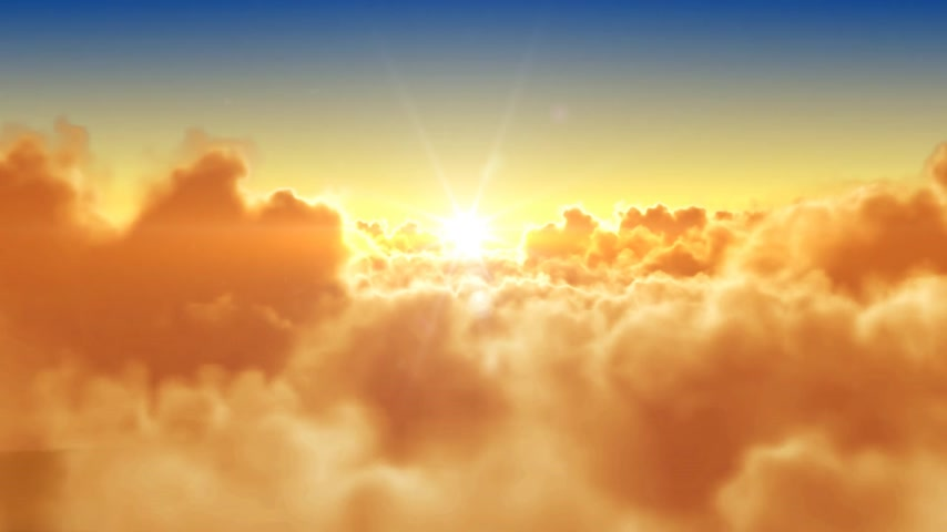 evening sun : Flying over the clouds with the evening (morning) sun. Seamless 3d animation. HD 1080. Stock Footage