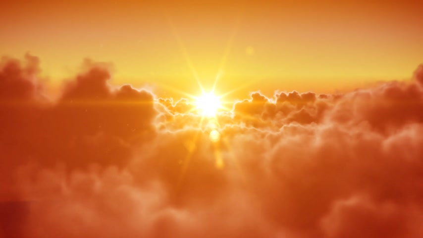 napos : Flying over the clouds with the evening (morning) sun. Seamless 3d animation. HD 1080. Stock mozgókép