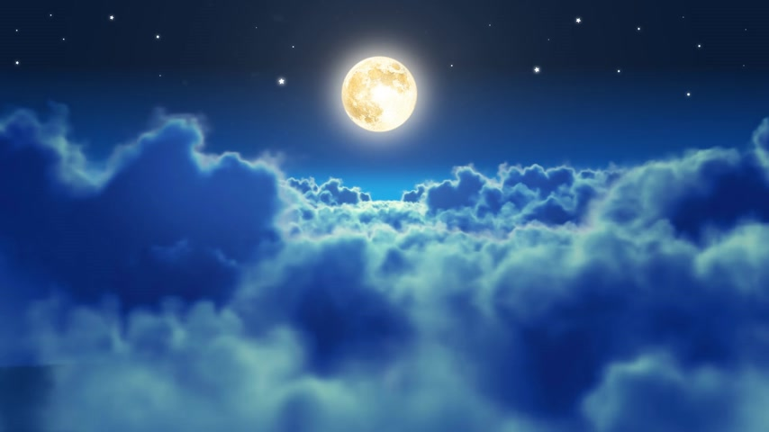 релаксация : Flying over the clouds in the night with the moon. Seamless 3d animation. HD 1080.
