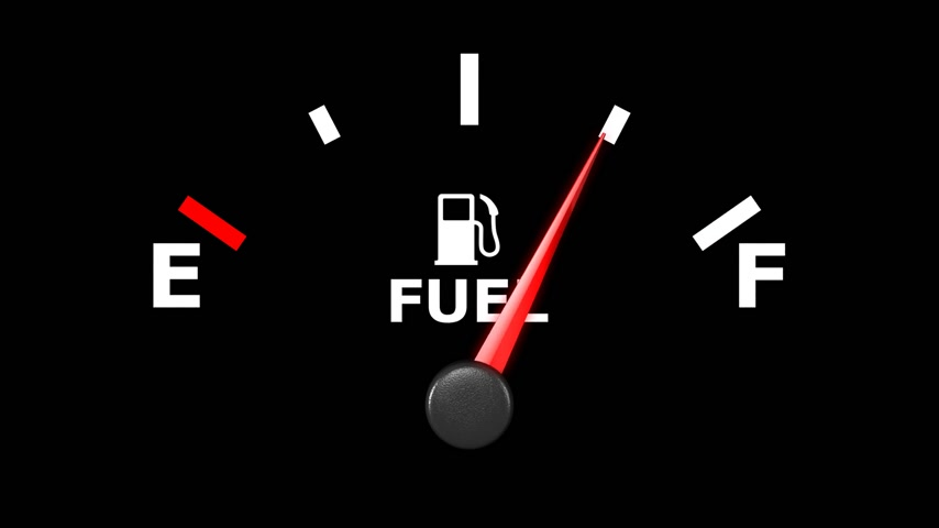 petrol : Fuel gage and pointer moving on it. HD. Stock Footage