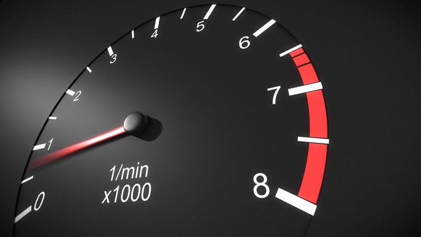 hızlanma : Car tachometer and moving pointer on it. HD.