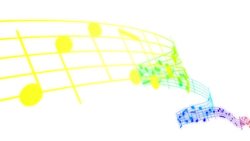 sheet : Music notes flowing in rainbow colors on white background. Seamless animation. HD 1080. Stock Footage