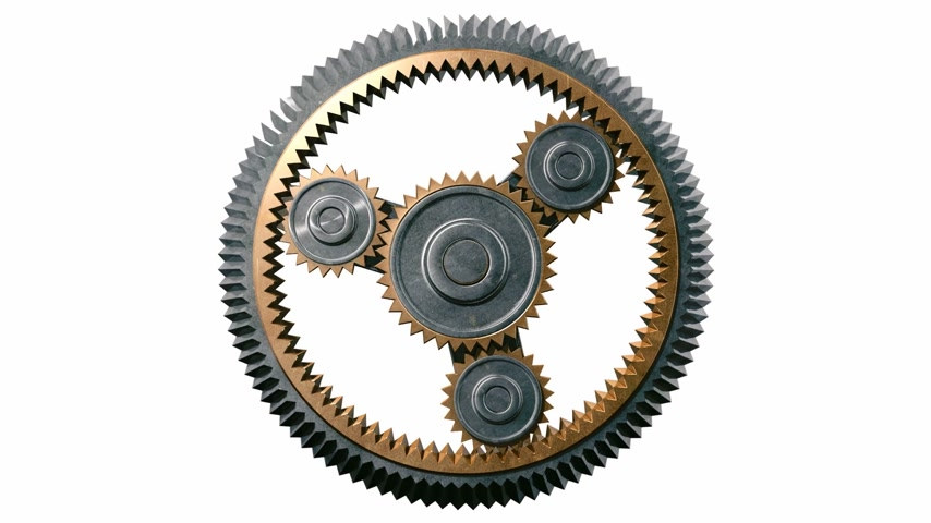 fogaskerék : Gears Spinning in Looped animation. HD 1080. Alpha Mask. Stock mozgókép