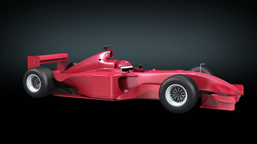 formuła : Racing car red color rotating on black background. No logos and advertisements. Looped 3d animation. HD 1080. Alpha included. Wideo