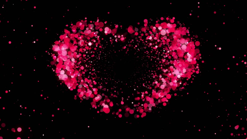 elszigetelt fekete : Heart Shape made of Pink Particles Beating. Beautiful looped 3d animation. HD 1080. Stock mozgókép