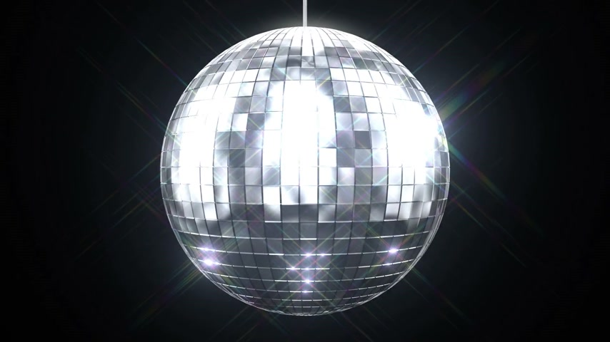 disko : Beautiful Disco Ball Spinning seamless with Flares on Black Background. Loop-able isolated 3d animation of Mirrorball. HD 1080.
