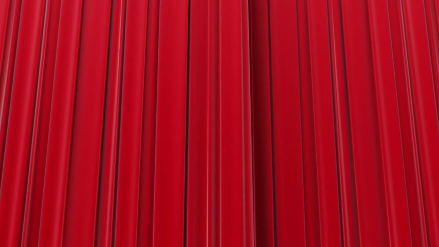 stage theater : Zooming on Red Curtains, Opening and closing 3d animation, HD 1080, Green Screen.