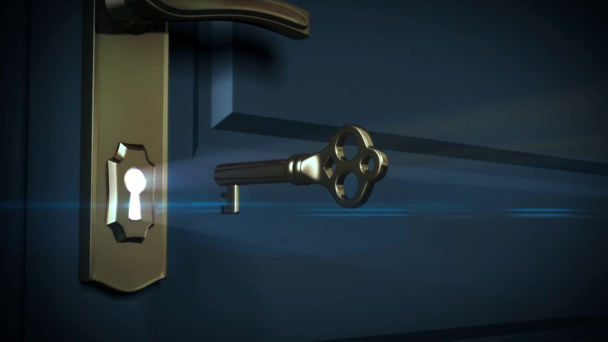 přední : Key unlocking lock and door opening to a bright light. HD 1080. Alpha mask included.