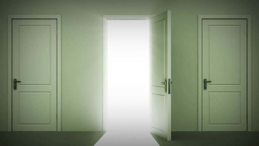drzwi : Doors Opening and Closing Looped animation. Moving in the Hall. Alpha mask. HD 1080. Wideo