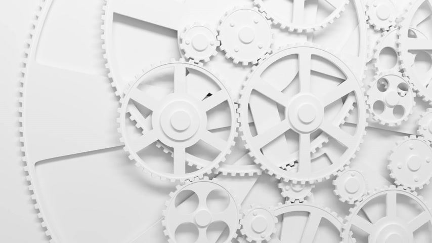 praca zespołowa : White Gears rotating in looped animation. Teamwork Concept. HD 1080. Wideo