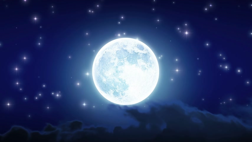 scény : Beautiful Moon Shine with Stars and Clouds. Looped animation. HD 1080.