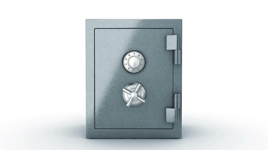 cadarço : Closed Safe Unlocking and Door Opening. Camera Flying Inside Transition. HD 1080. Alpha matte.