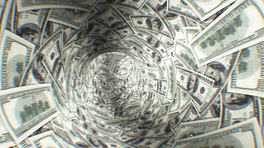 tunel : Abstract Dollars Tunnel 3d animation. Light in the End. First 250 frames are loop-able. HD 1080.