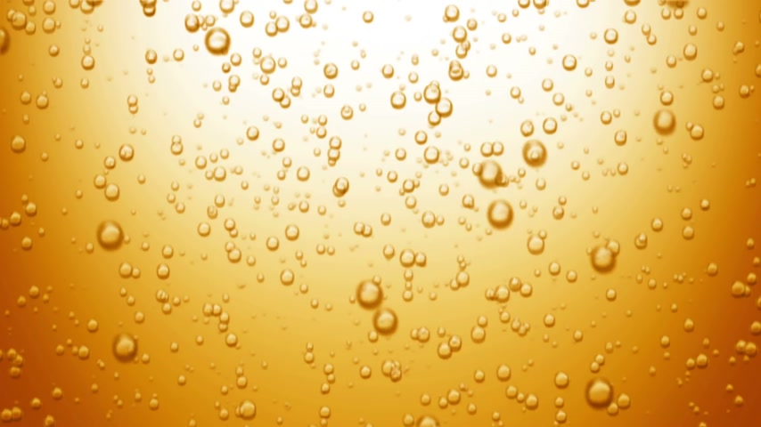 сверкающий : Beautiful Beer Bubbles Rising Up. Loopable 3d Animation of Sparkling Water on Yellow Background. HD 1080.