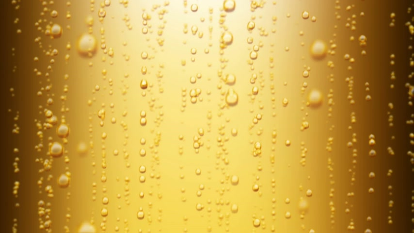 barmetro : Beautiful Beer Bubbles Rising Up. Loopable 3d Animation of Sparkling Water on Yellow Background. HD 1080.