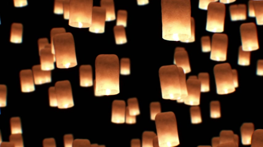 yeepeng : Flying Lanterns Yeepang Festival. Beautiful 3d animation. HD 1080. Close-up view.