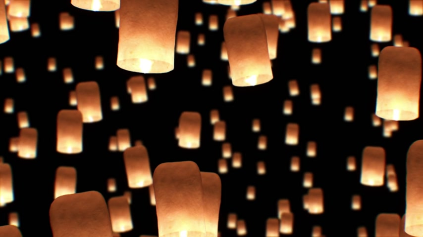 ibadet : Beautiful Looped 3d animation of Floating Lanterns in Yee Peng Festival. Seamless. HD 1080.