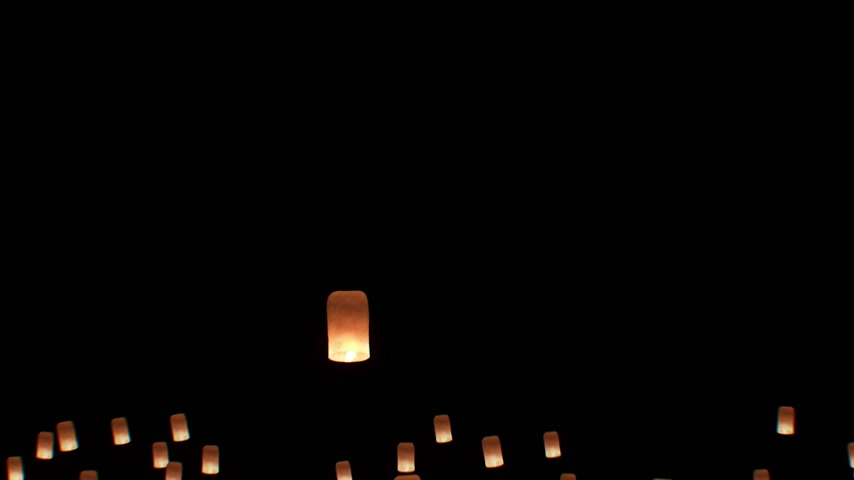 yeepeng : Floating Lanterns in Yee Peng Festival. Loy Krathong Celebration in Chiangmai, Thailand. Beautiful 3d animation. Start of the Festival. HD 1080.