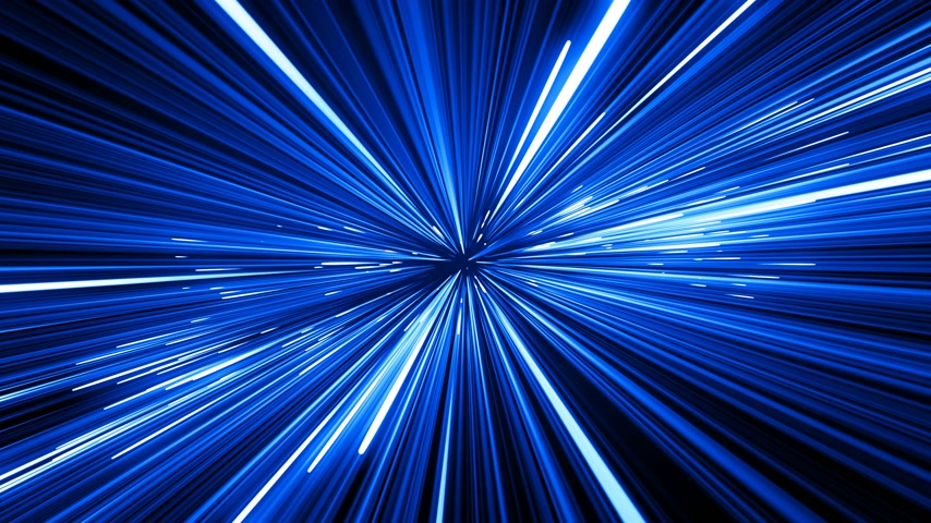 prędkość : Abstract Hyperspace Jump in Universe With Spinning. Beautiful Space Travel Through Stars Trails Blue Color. Digital Design Concept. Looped 3d Animation of Glowing Lines 4k Ultra HD 3840x2160.