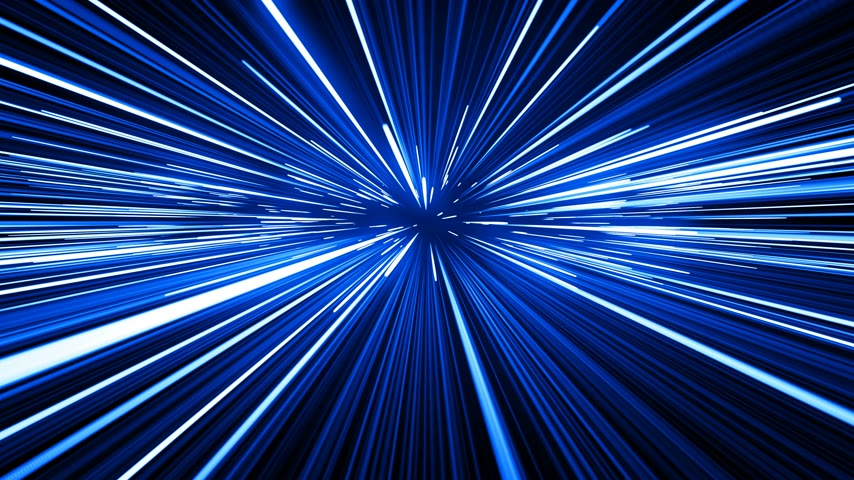 hyperspace : Space Travel Through Stars Trails Blue Color. Beautiful Abstract Hyperspace Jump. Digital Design Concept. Looped 3d Animation of Glowing Lines 4k Ultra HD 3840x2160.