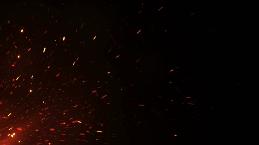 fireside : Beautiful Burning Hot Sparks Rising from Large Fire in Night Sky. Abstract Isolated Fire Glowing Particles on Black Background Flying Up. Looped 3d Animation. 4k Ultra HD 3840x2160 Stock Footage