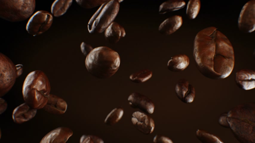 aromatik : Beautiful Roasted Coffee Beans Falling Down Close-up in Slow Motion Seamless CG on Brown Background. Looped 3d Animation with DOF Blur. 4k Ultra HD 3840x2160.
