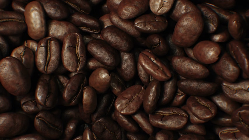 close up : Beautiful Roasted Coffee Beans Moving in Vortex Close-up Slow Motion CG Background. Abstract 3d Animation of Realistic Coffee Beans Rotation. Food and Drinks Concept. 4k Ultra HD 3840x2160