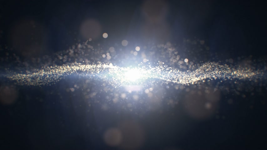 Beautiful Abstract Molecular Energy Light Flashing Seamless with Waving Atoms Around. Looped 3d Animation of Abstract Particles Movement with Glittering Bright Light. 4k Ultra HD 3840x2160